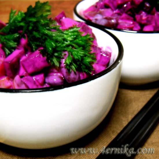 Салат из фасоли со свеклой