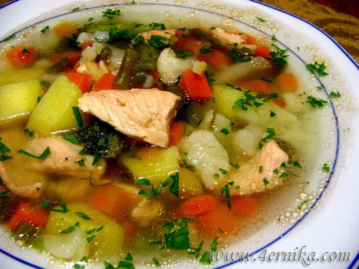 Быстрый рыбный суп