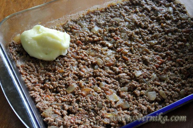 Запеканка из мяса и пюре