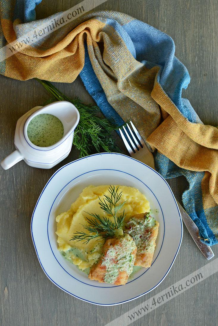 Жаренная рыба в укропном соусе
