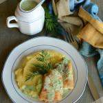 Жареная рыба в укропном соусе